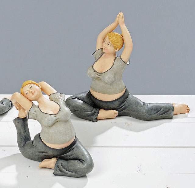 sportliche yoga frauen 2er set figur kunstharz deko poly skulptur l24cm ebay. Black Bedroom Furniture Sets. Home Design Ideas
