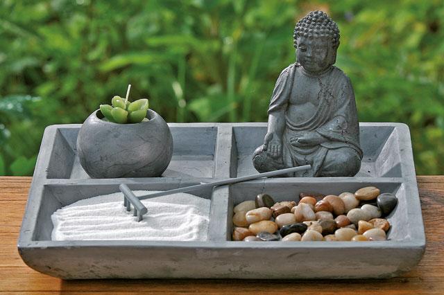 Zen Garten Steine Kies Sand Feng Shui Buddha Harke Tablett