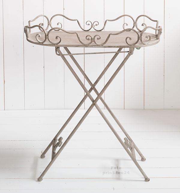 klapptisch deko stand tablett beistelltisch metall grau klappbar ornamente. Black Bedroom Furniture Sets. Home Design Ideas
