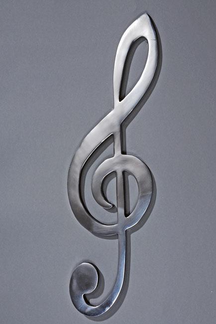 Deko wandobjekt notenschl ssel aluminium alu poliert for Design versandhandel