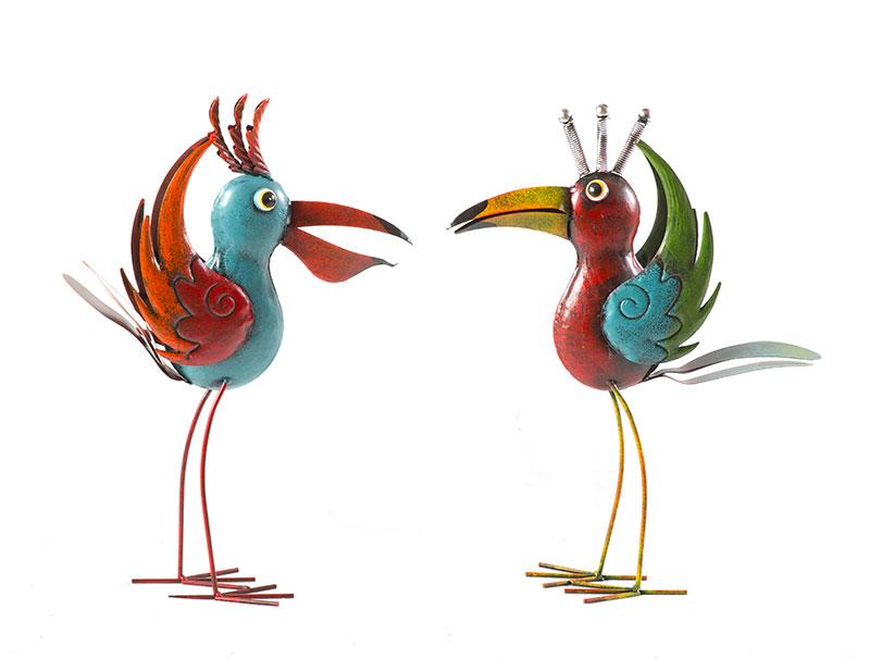 Gartenfigur vogel metall bunt gartendeko paradiesvogel for Gartendeko metall vogel