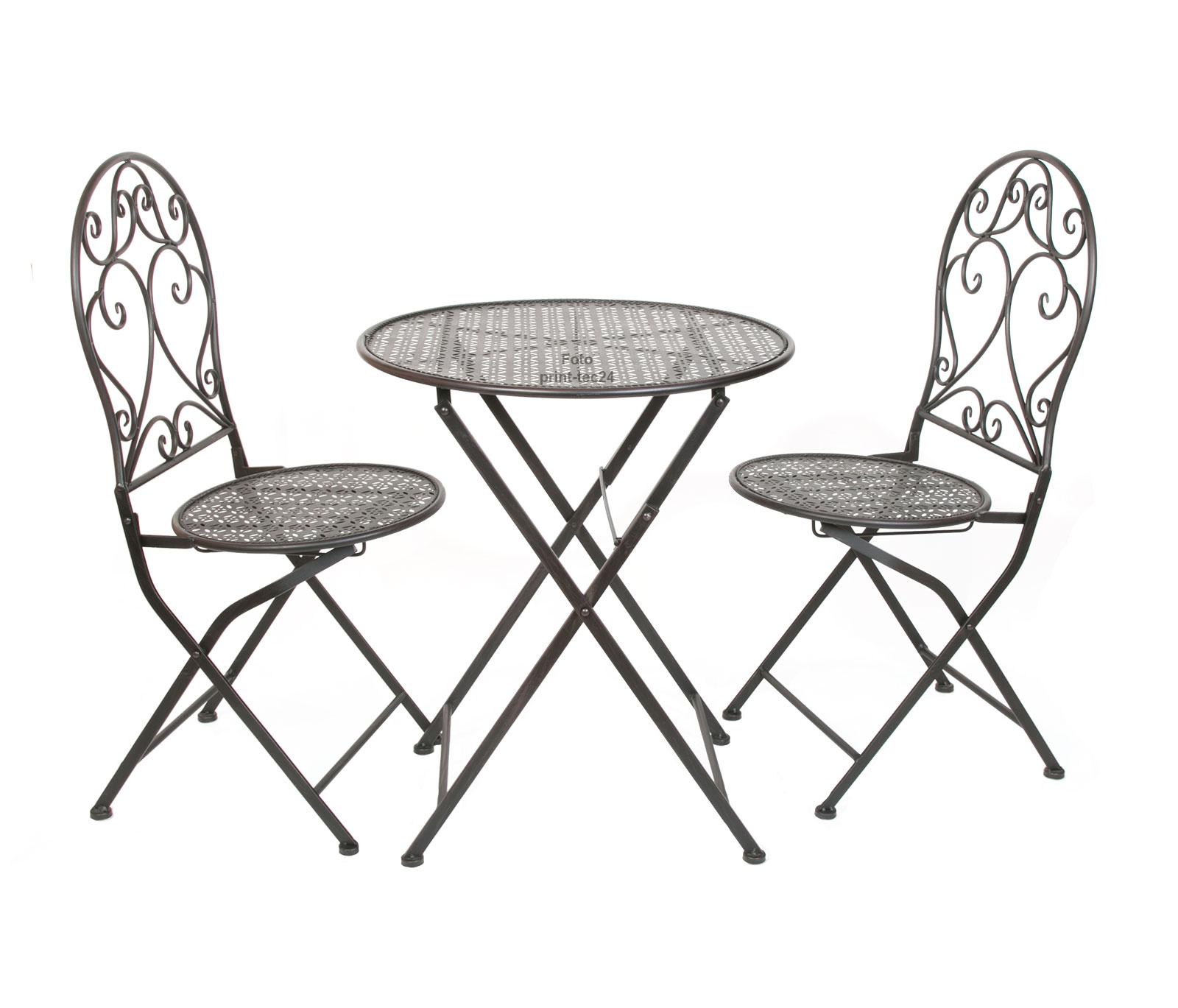 Sitzgruppe Eisen schwarz klappbare Gartenmöbel Tisch 2 ...