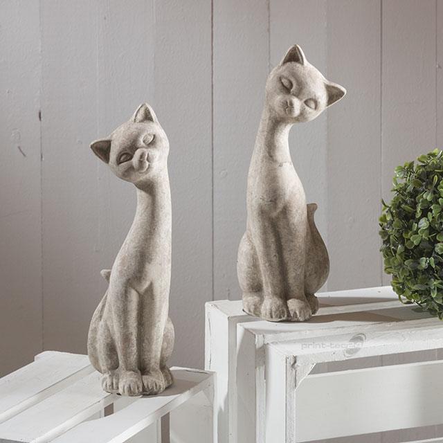 Katzen keramik grau wei figur antik design kater - Keramik katzen fur garten ...