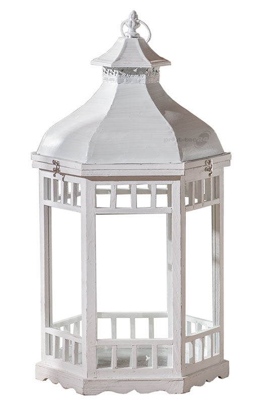 laterne holz weiss 6eckig wei windlicht kerzenhalter metalldach gro kaufen bei. Black Bedroom Furniture Sets. Home Design Ideas