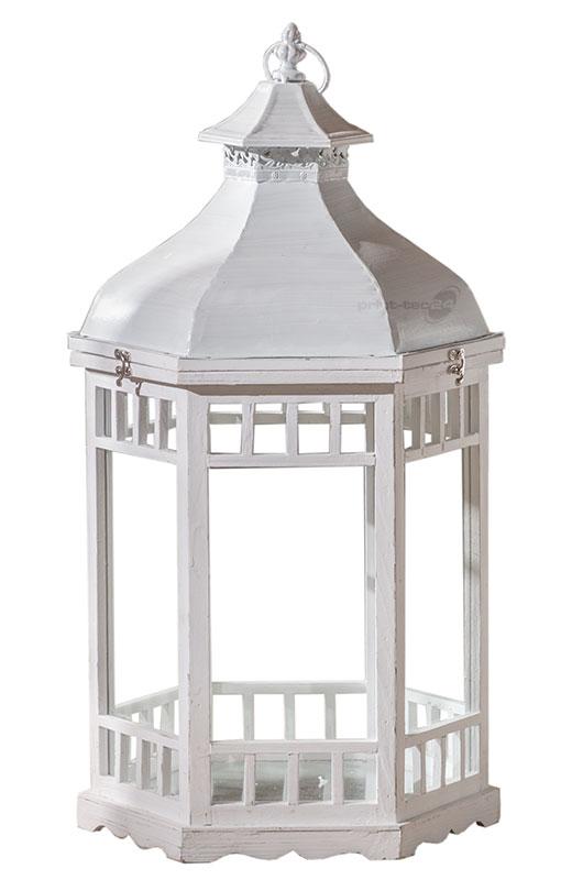 laterne holz weiss 6eckig wei windlicht kerzenhalter. Black Bedroom Furniture Sets. Home Design Ideas