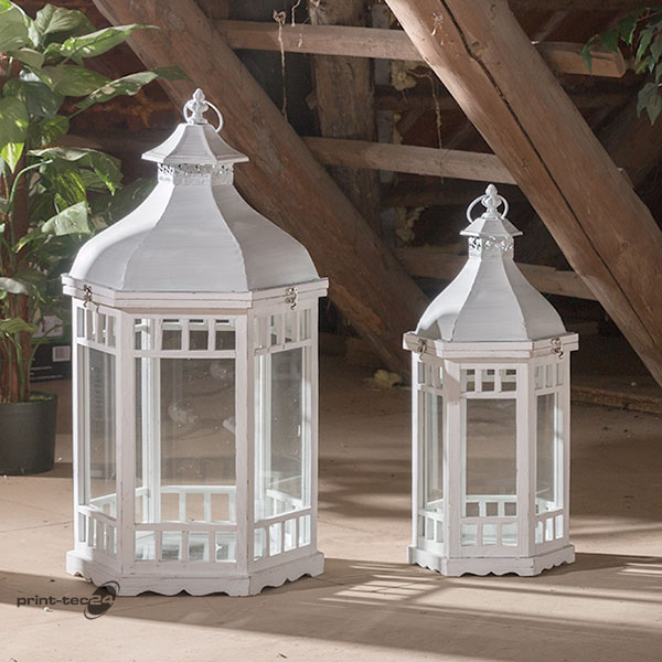 laterne holz 6eckig windlicht gartenlaterne shabby wei. Black Bedroom Furniture Sets. Home Design Ideas