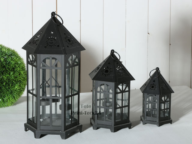 laterne aus metall gartenlaterne windlicht schwarz teelicht windlicht ebay. Black Bedroom Furniture Sets. Home Design Ideas