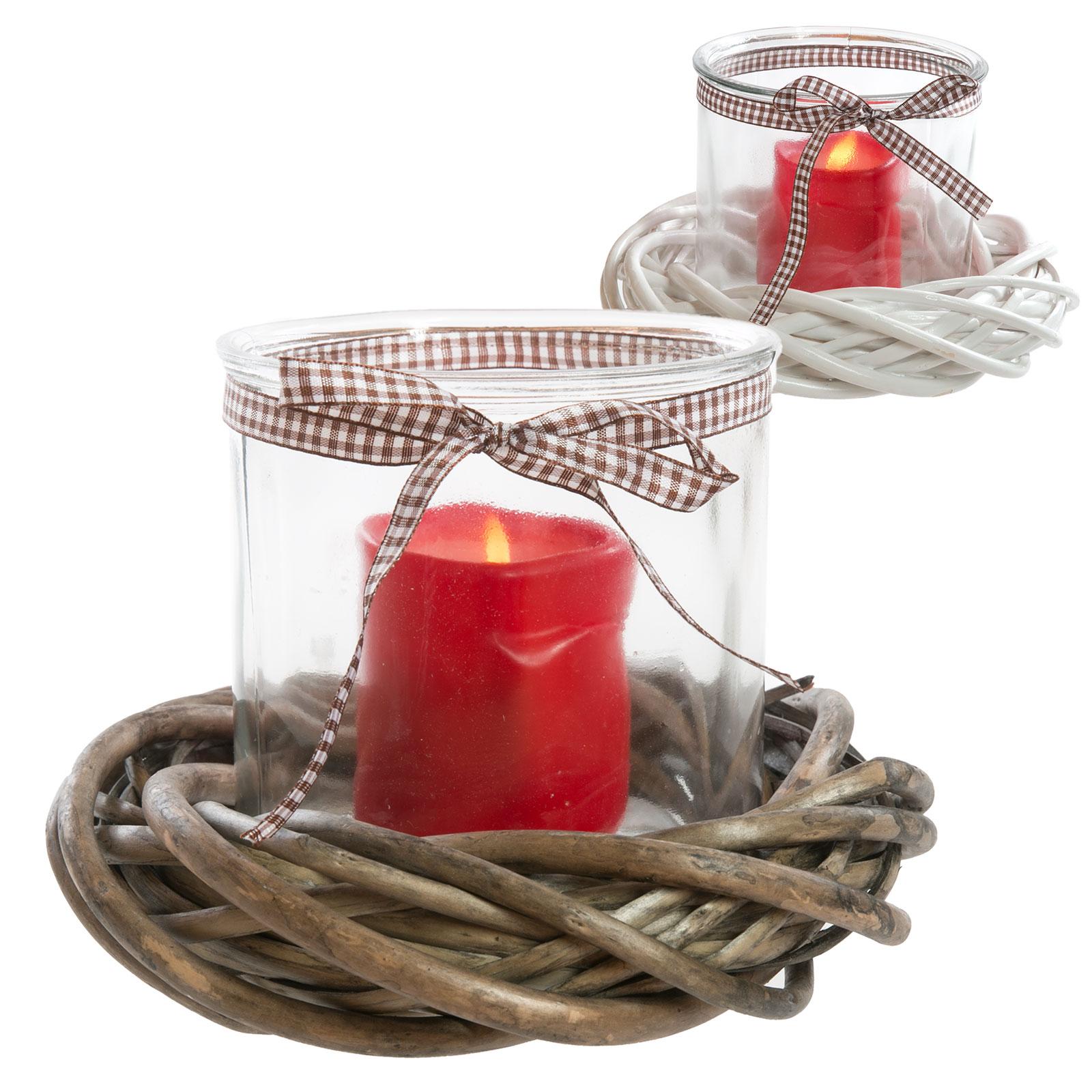windlicht kranz weide glas holz landhaus shabby weihnachten natur kerzenglas ebay. Black Bedroom Furniture Sets. Home Design Ideas