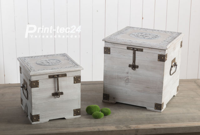 holztruhe w schetruhe truhe holz gartentruhe gartenbox holzbox grau wei ebay. Black Bedroom Furniture Sets. Home Design Ideas