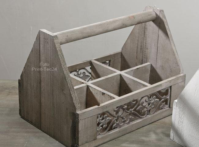 flaschenkorb weinkorb holz landhausstil flaschentr ger vintage ebay. Black Bedroom Furniture Sets. Home Design Ideas