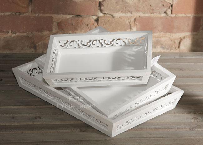 tablett aus holz mit metallornamente 3er set in braun oder wei. Black Bedroom Furniture Sets. Home Design Ideas