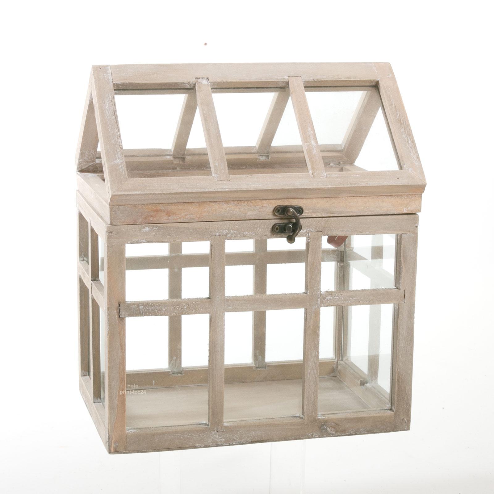 mini gew chshaus braun holz glas ziehkasten windlicht. Black Bedroom Furniture Sets. Home Design Ideas