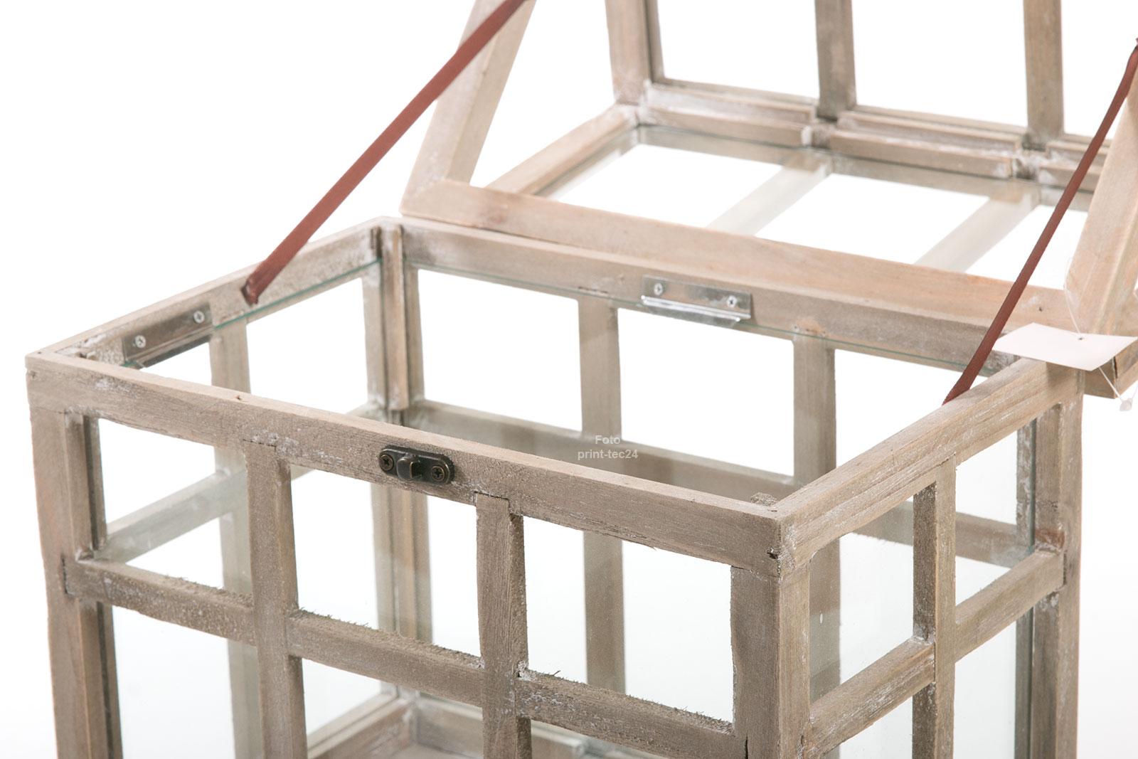 mini gew chshaus braun holz glas ziehkasten windlicht laterne kerzenhalter gro ebay. Black Bedroom Furniture Sets. Home Design Ideas